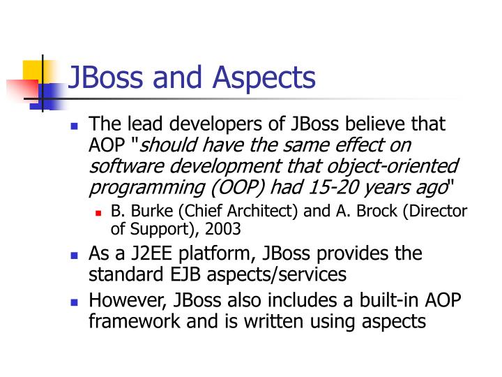 JBoss and Aspects