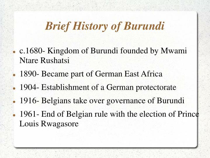 Brief History of Burundi