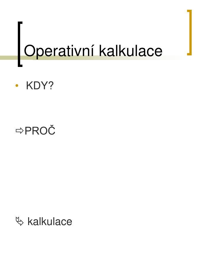 Operativní kalkulace