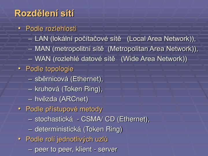 Rozdělení sítí