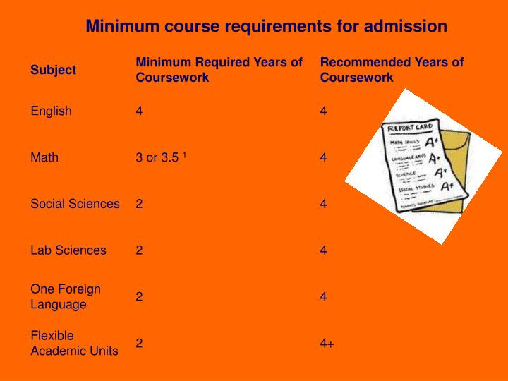 Minimum course requirements for admission