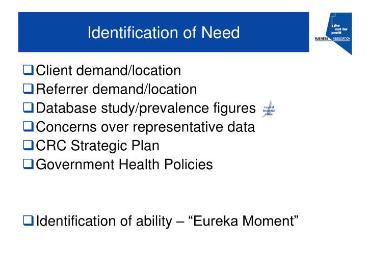 Identification of Need