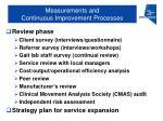 measurements and continuous improvement processes