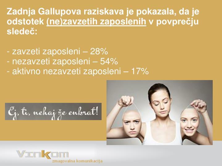 Zadnja Gallupova raziskava je pokazala, da je odstotek