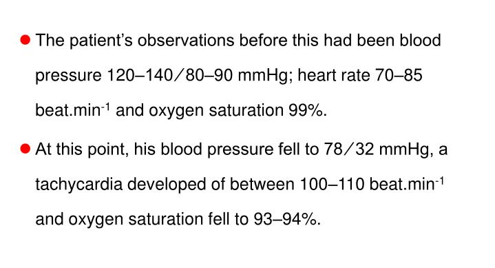 The patient's observations before this had been blood pressure 120–140 ⁄ 80–90 mmHg; heart rate 70–85 beat.min