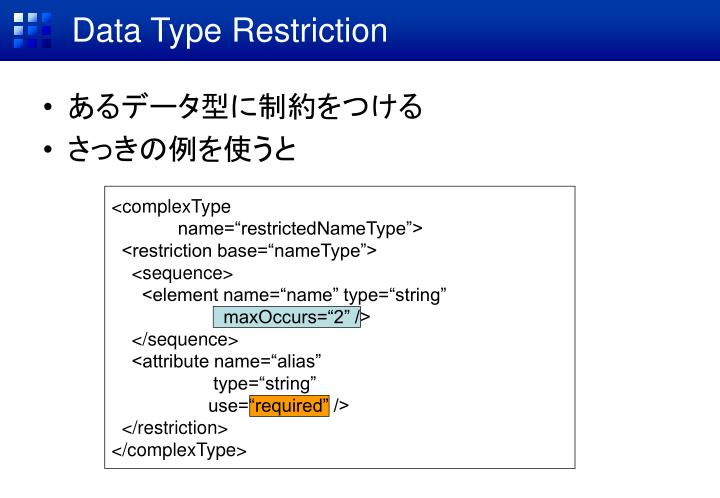 Data Type Restriction