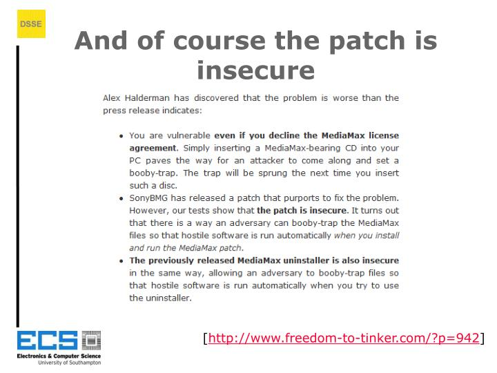 And of course the patch is insecure