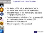 cooperation in fp6 calls for proposals