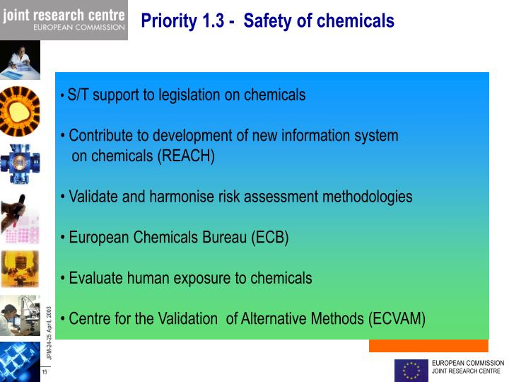 Priority 1.3 -  Safety of chemicals