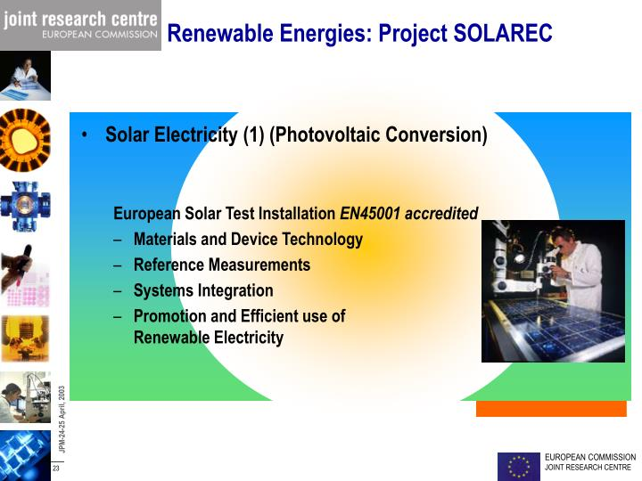 Renewable Energies: Project SOLAREC