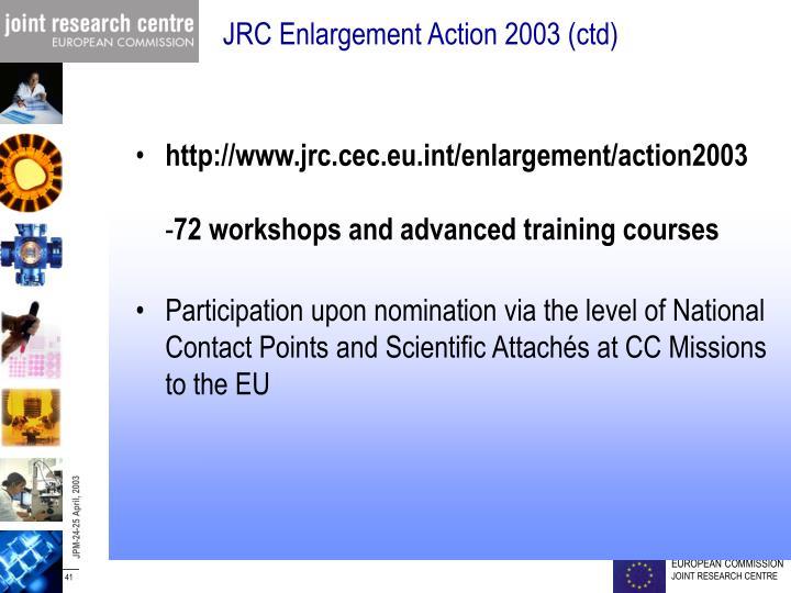JRC Enlargement Action 2003 (ctd)