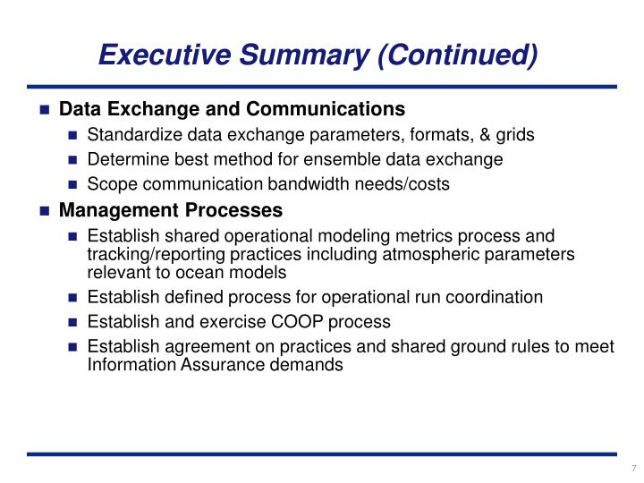 Executive Summary (Continued)