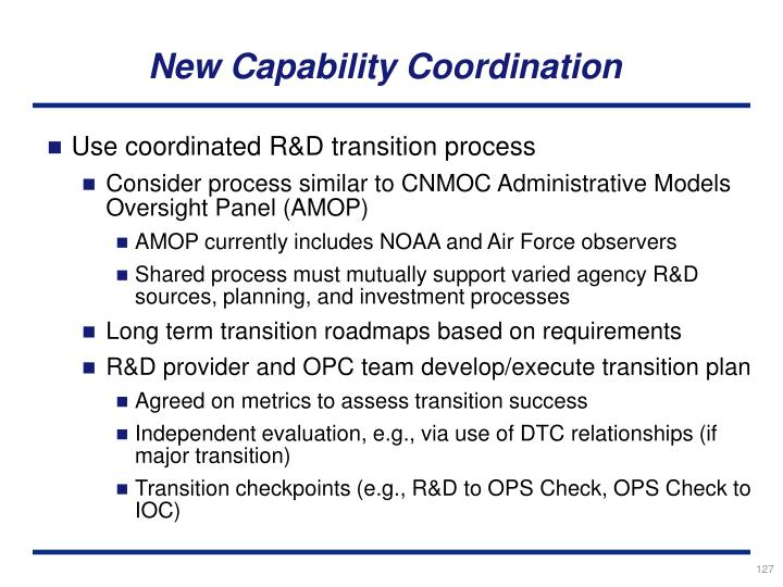 New Capability Coordination