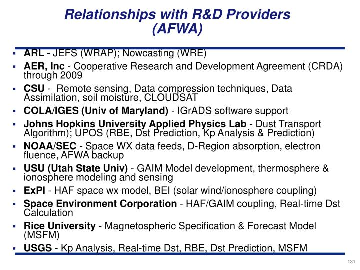 Relationships with R&D Providers
