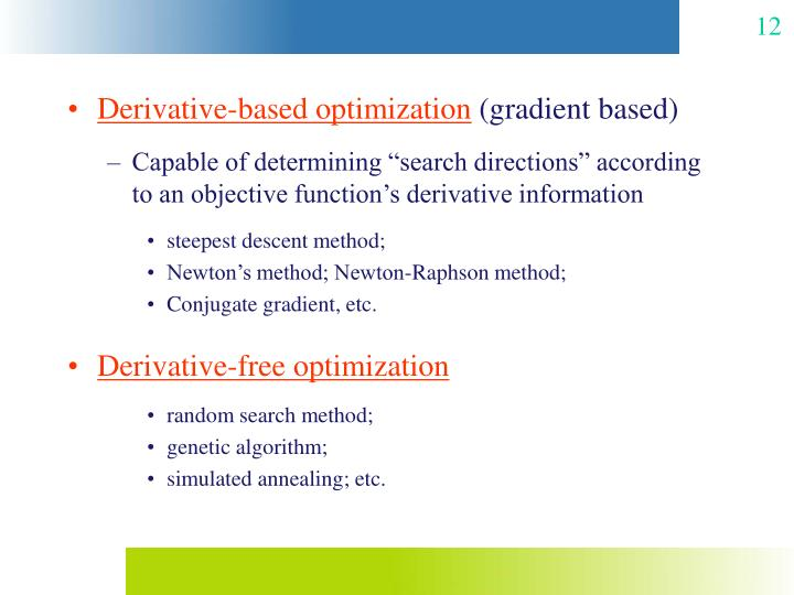 Derivative-based optimization