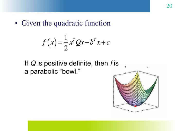 Given the quadratic function