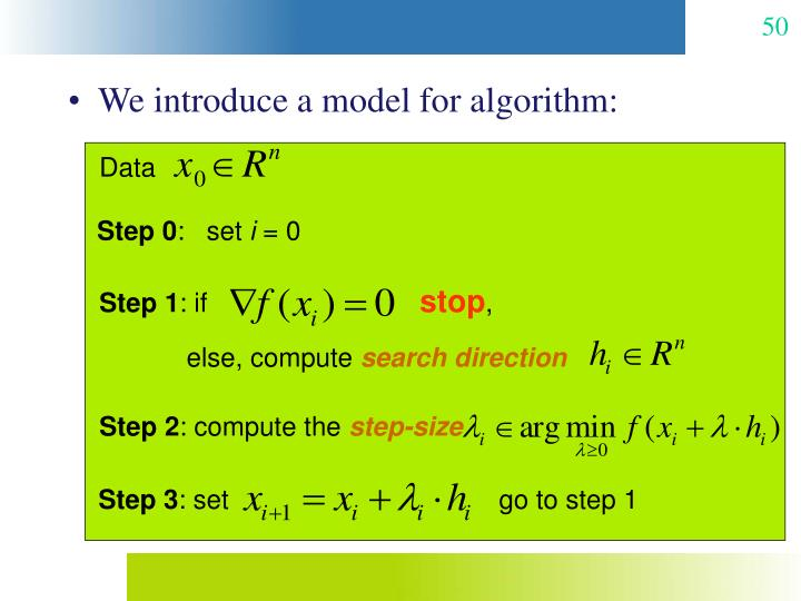 We introduce a model for algorithm: