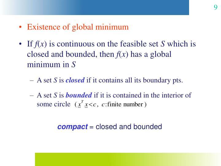 Existence of global minimum