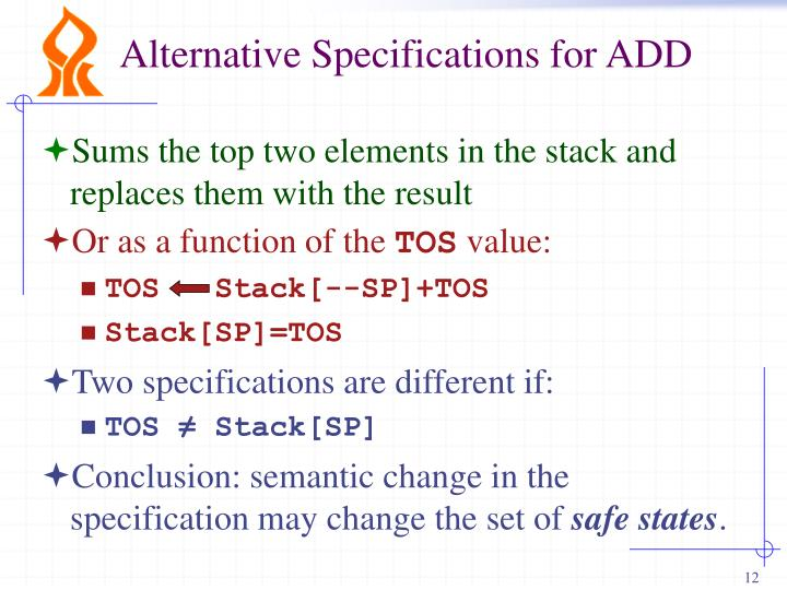 Alternative Specifications for ADD