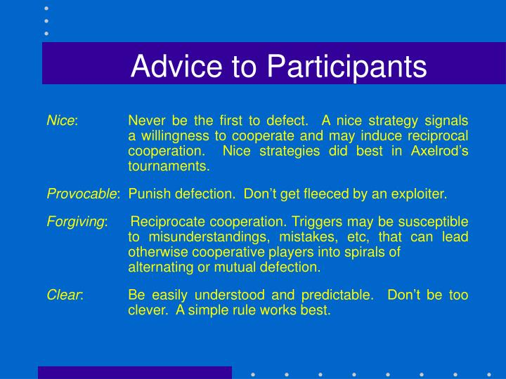 Advice to Participants