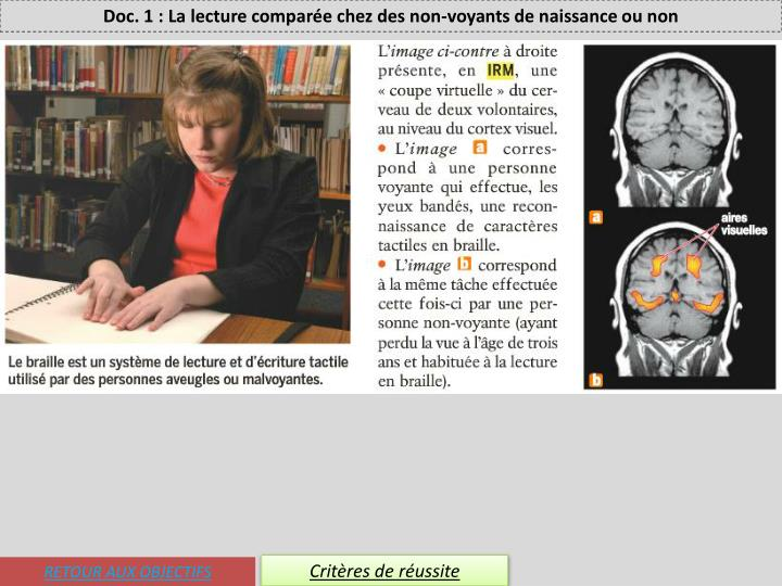 Doc. 1 : La lecture comparée chez des non-voyants de naissance ou non