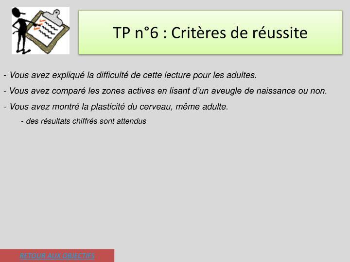 TP n°6 : Critères de réussite