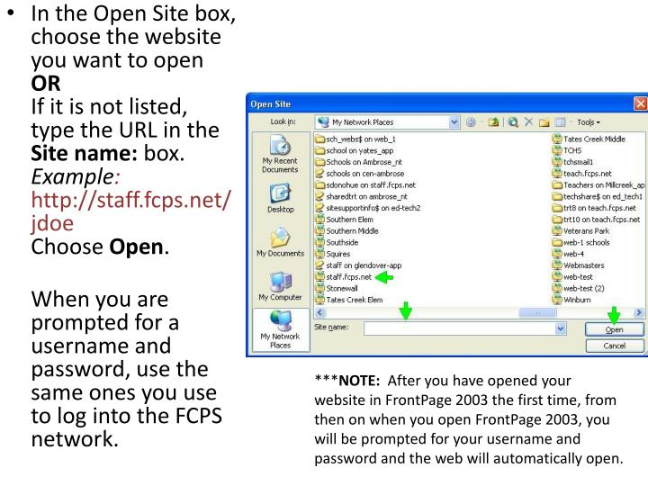 In the Open Site box, choose the website you want to open