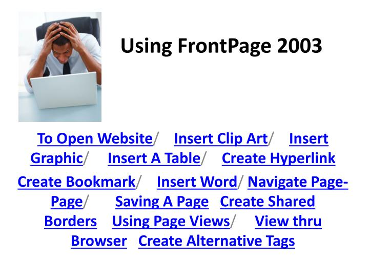 Using frontpage 2003