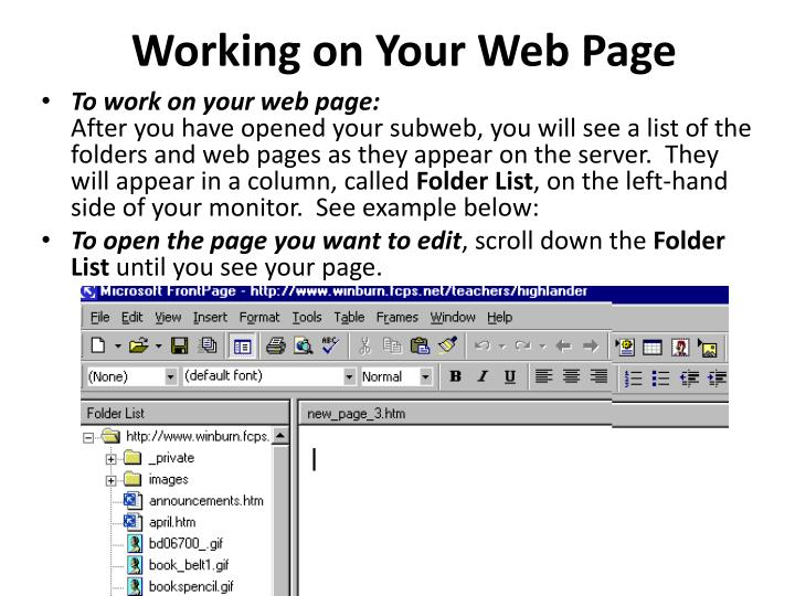 Working on Your Web Page