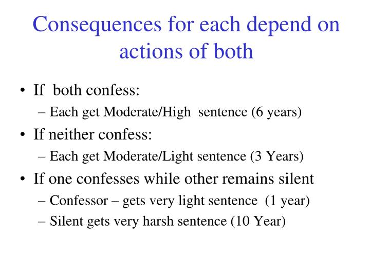 Consequences for each depend on actions of both