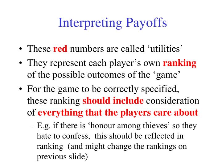 Interpreting Payoffs
