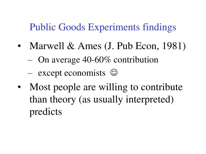 Public Goods Experiments findings