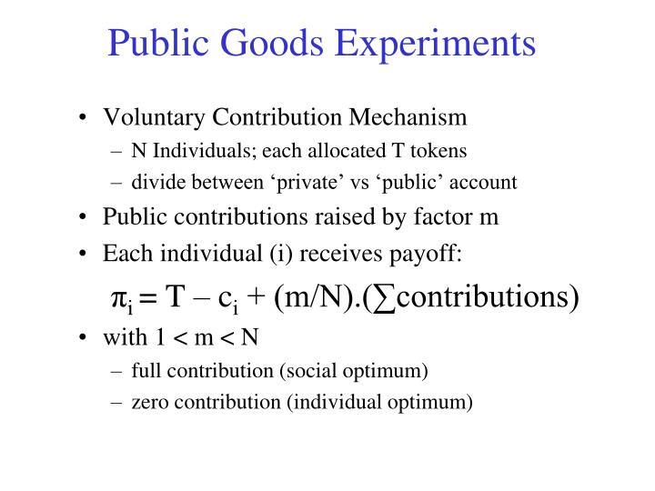 Public Goods Experiments