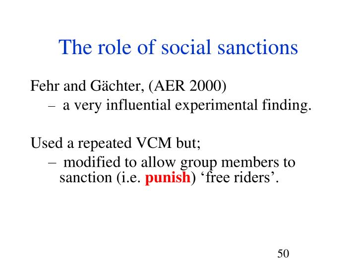The role of social sanctions