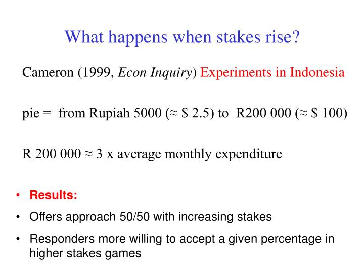 What happens when stakes rise?