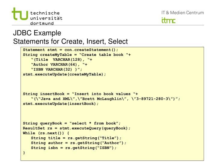 JDBC Example