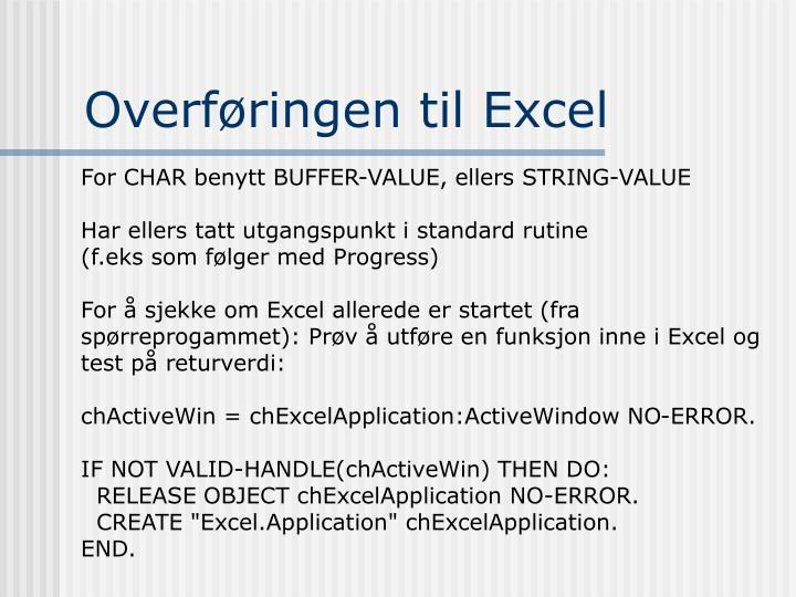 Overføringen til Excel