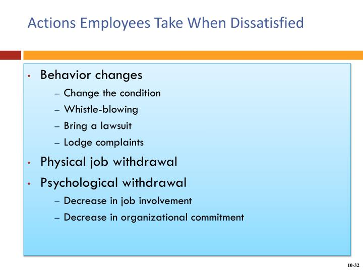 Actions Employees Take When Dissatisfied