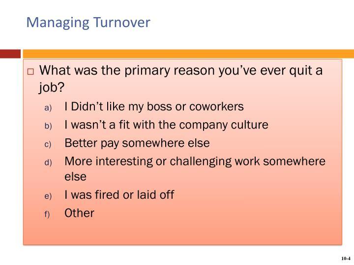 Managing Turnover