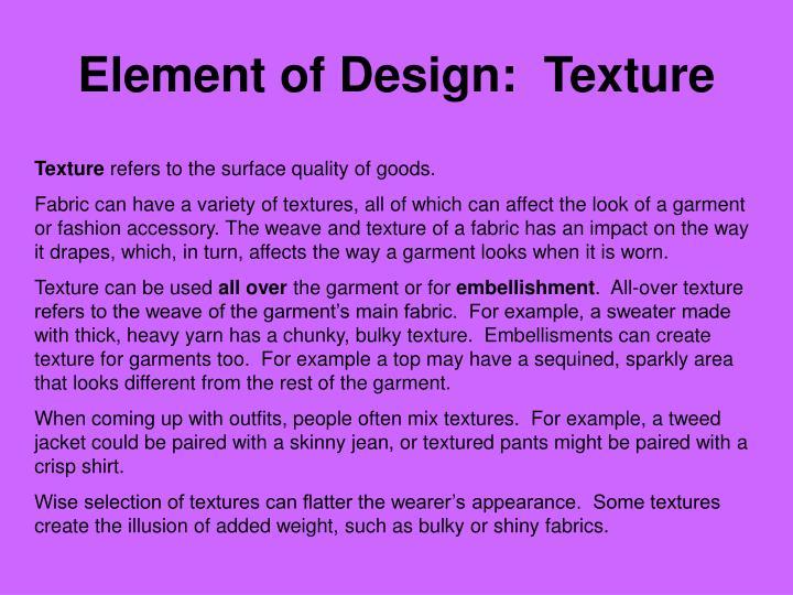 Element of Design:  Texture