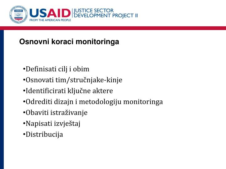 Osnovni koraci monitoringa