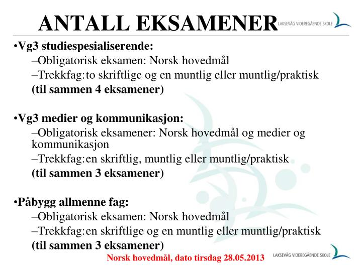 ANTALL EKSAMENER
