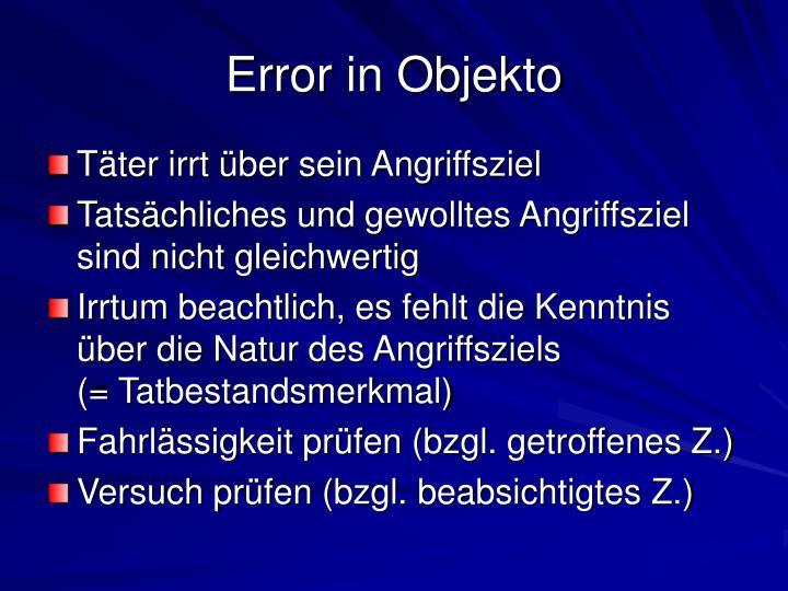 Error in Objekto