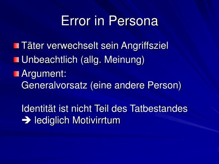 Error in Persona