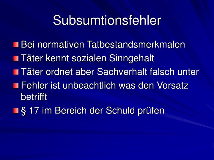 Subsumtionsfehler