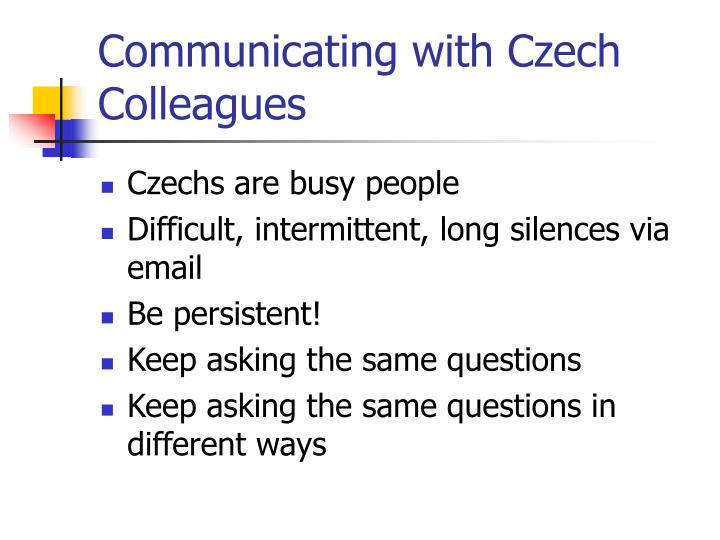 Communicating with Czech Colleagues