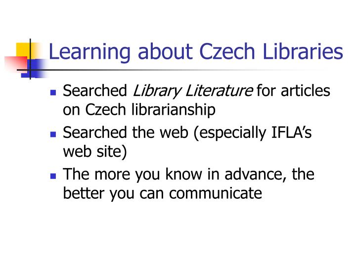 Learning about Czech Libraries