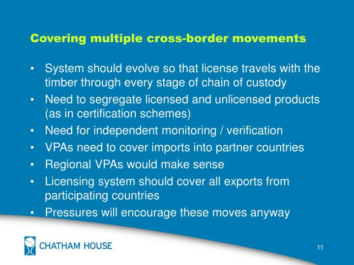Covering multiple cross-border movements