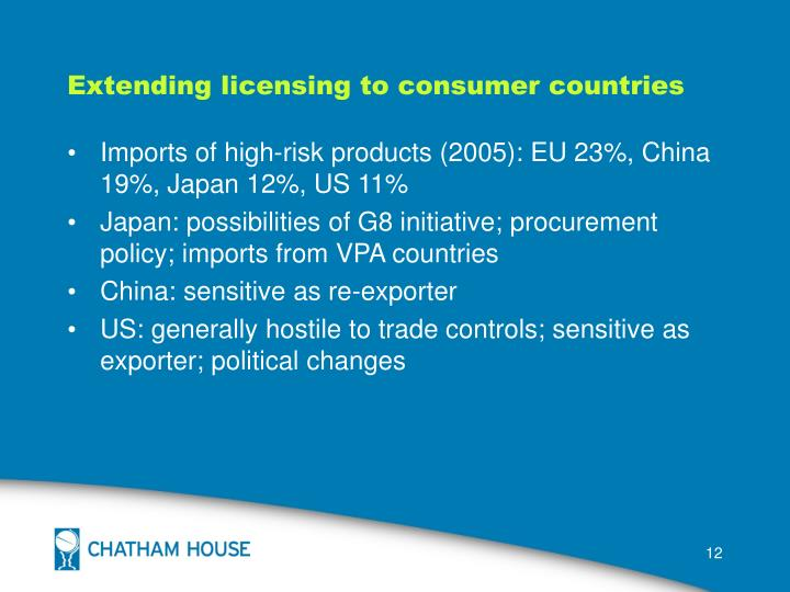 Extending licensing to consumer countries
