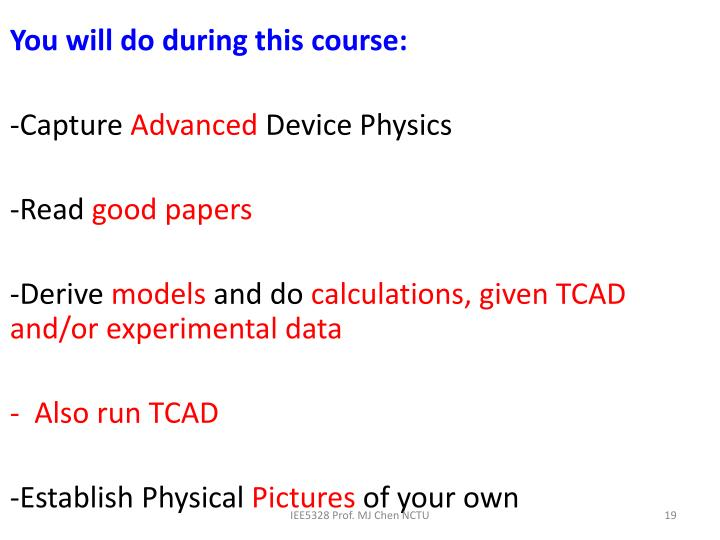 You will do during this course:
